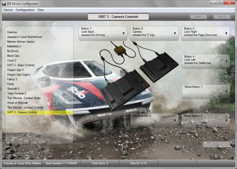 Camera controls configuration and custom DiRT 3 background